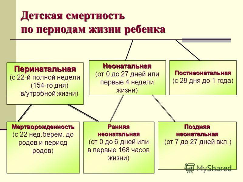 Детская смертность по периодам жизни ребенка Перинатальная (с 22-й полной недели (154-го дня) в/утробной жизни) Неонатальная (от 0 до 27 дней или первые 4 недели жизни) Мертворожденность (с 22 нед.берем. до родов и период родов) Ранняянеонатальная (о