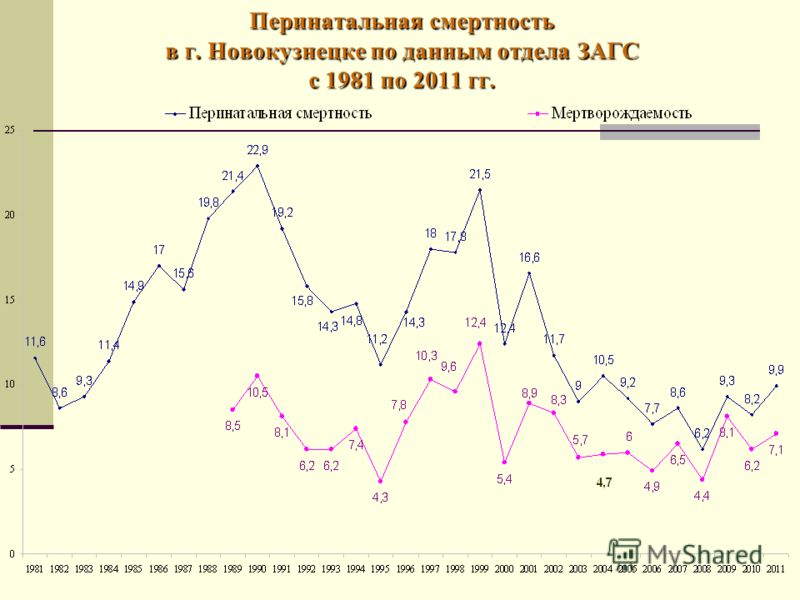 Перинатальная смертность в г. Новокузнецке по данным отдела ЗАГС с 1981 по 2011 гг.