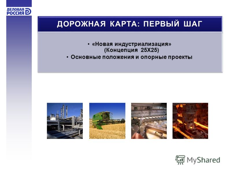 ДОРОЖНАЯ КАРТА: ПЕРВЫЙ ШАГ «Новая индустриализация» (Концепция 25Х25) Основные положения и опорные проекты