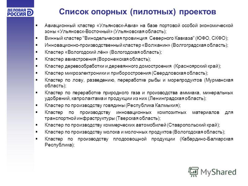 Список опорных (пилотных) проектов Авиационный кластер «Ульяновск-Авиа» на базе портовой особой экономической зоны «Ульяновск-Восточный» (Ульяновская область); Винный кластер