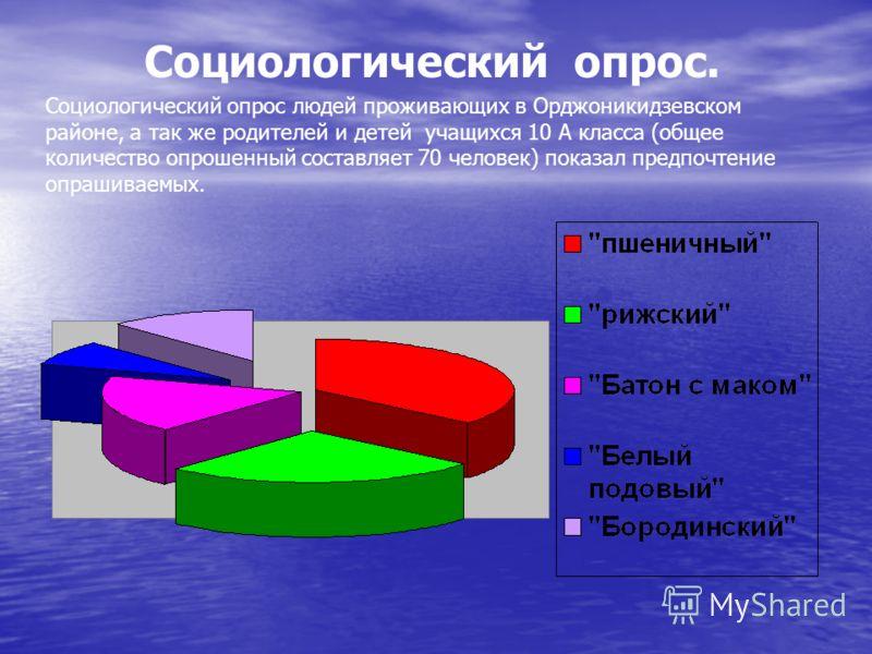 Социологический опрос. Социологический опрос людей проживающих в Орджоникидзевском районе, а так же родителей и детей учащихся 10 А класса (общее количество опрошенный составляет 70 человек) показал предпочтение опрашиваемых.