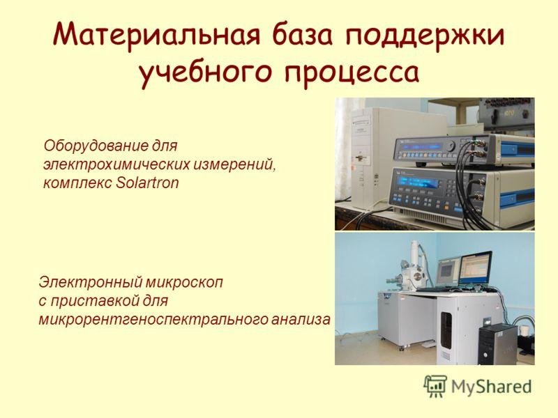Оборудование для электрохимических измерений, комплекс Solartron Электронный микроскоп с приставкой для микрорентгеноспектрального анализа Материальная база поддержки учебного процесса