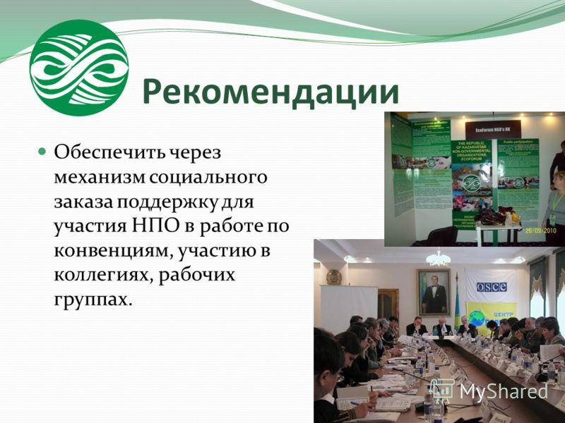 Рекомендации Обеспечить через механизм социального заказа поддержку для участия НПО в работе по конвенциям, участию в коллегиях, рабочих группах.