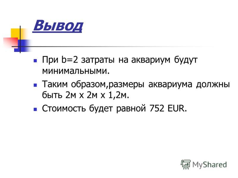 Вывод При b=2 затраты на аквариум будут минимальными. Таким образом,размеры аквариума должны быть 2м x 2м x 1,2м. Стоимость будет равной 752 EUR.