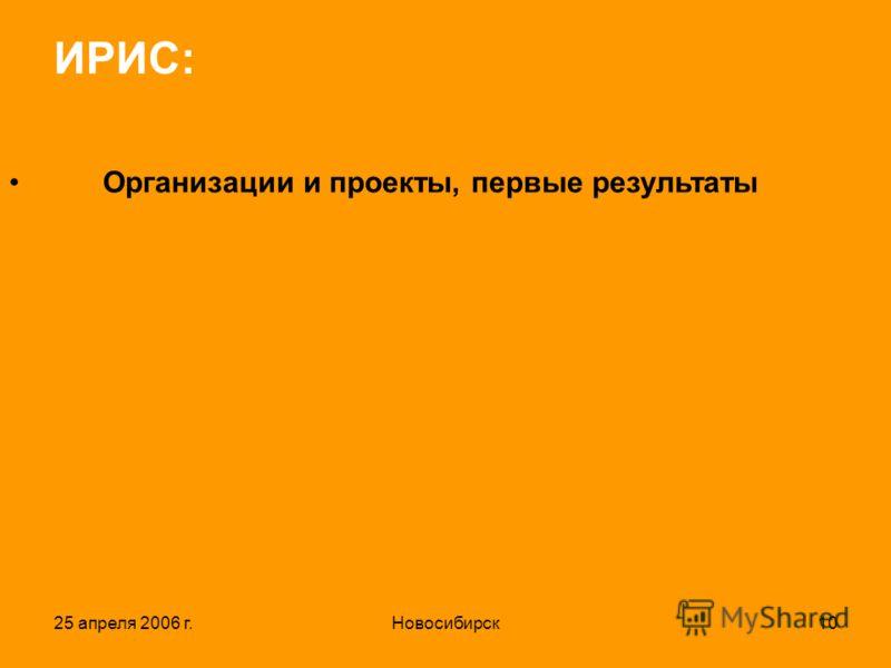 25 апреля 2006 г.Новосибирск10 ИРИС: Организации и проекты, первые результаты