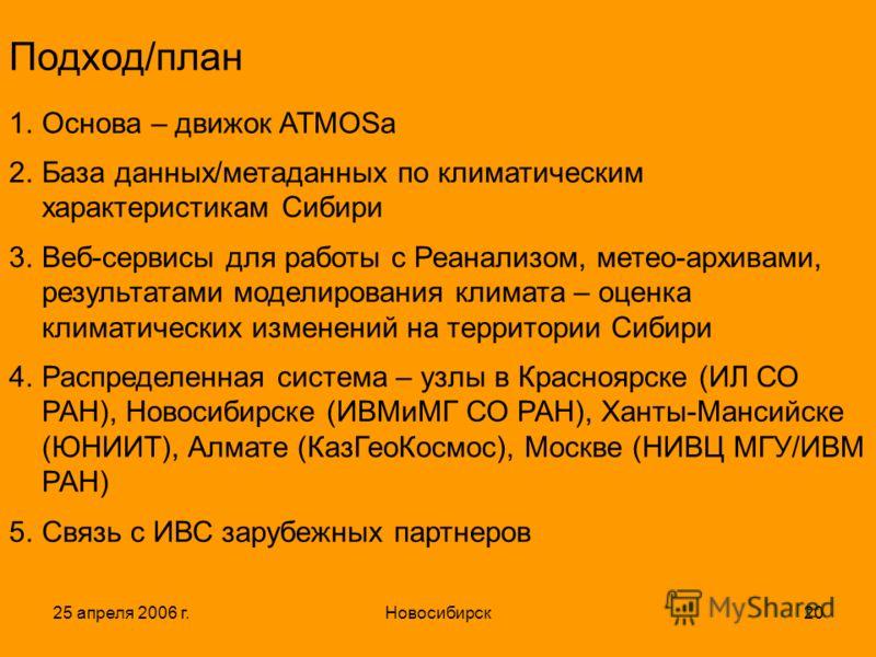 25 апреля 2006 г.Новосибирск20 Подход/план 1.Основа – движок ATMOSа 2.База данных/метаданных по климатическим характеристикам Сибири 3.Веб-сервисы для работы с Реанализом, метео-архивами, результатами моделирования климата – оценка климатических изме