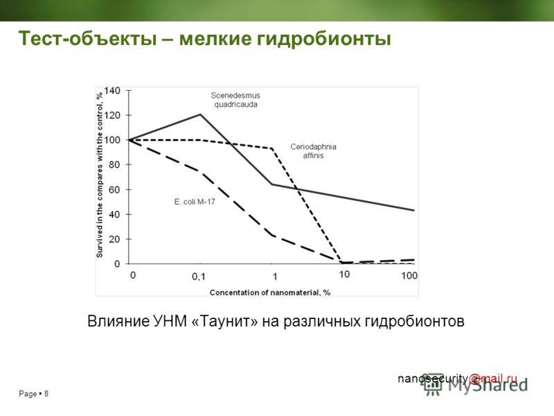 Page 8 nanosecurity@mail.ru Тест-объекты – мелкие гидробионты Влияние УНМ «Таунит» на различных гидробионтов