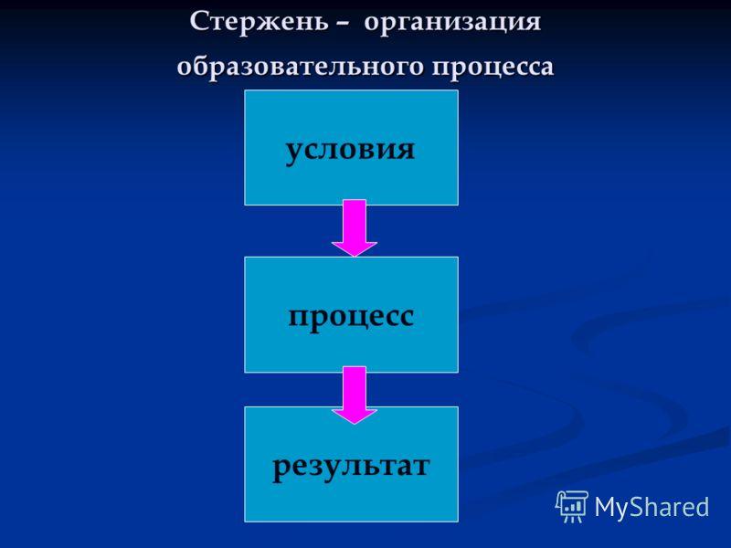 Стержень – организация образовательного процесса условия процесс результат