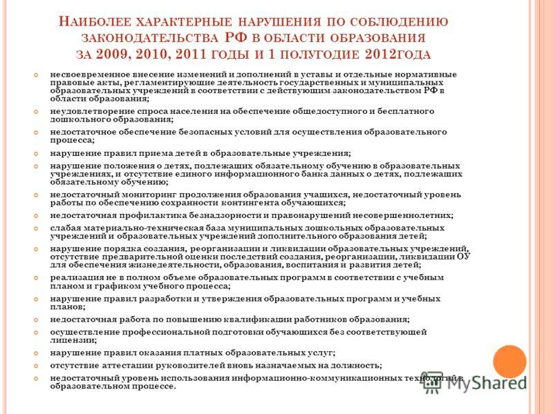 Н АИБОЛЕЕ ХАРАКТЕРНЫЕ НАРУШЕНИЯ ПО СОБЛЮДЕНИЮ ЗАКОНОДАТЕЛЬСТВА РФ В ОБЛАСТИ ОБРАЗОВАНИЯ ЗА 2009, 2010, 2011 ГОДЫ И 1 ПОЛУГОДИЕ 2012 ГОДА несвоевременное внесение изменений и дополнений в уставы и отдельные нормативные правовые акты, регламентирующие
