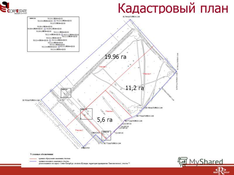 Кадастровый план 19.96 га 11,2 га 5,6 га