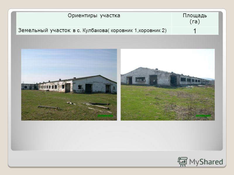 Ориентиры участкаПлощадь (га) Земельный участок в с. Кулбакова( коровник 1,коровник 2) 1