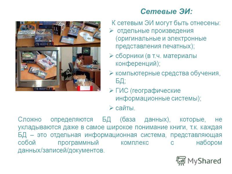 Сетевые ЭИ: К сетевым ЭИ могут быть отнесены: отдельные произведения (оригинальные и электронные представления печатных); сборники (в т.ч. материалы конференций); компьютерные средства обучения, БД; ГИС (географические информационные системы); сайты.