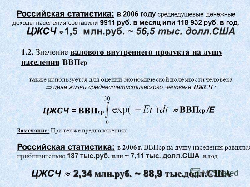 Российская статистика: в 2006 году среднедушевые денежные доходы населения составили 9911 руб. в месяц или 118 932 руб. в год. ЦЖСЧ 1,5 млн.руб. ~ 56,5 тыс. долл.США 1.2. Значение валового внутреннего продукта на душу населения ВВП ср также используе