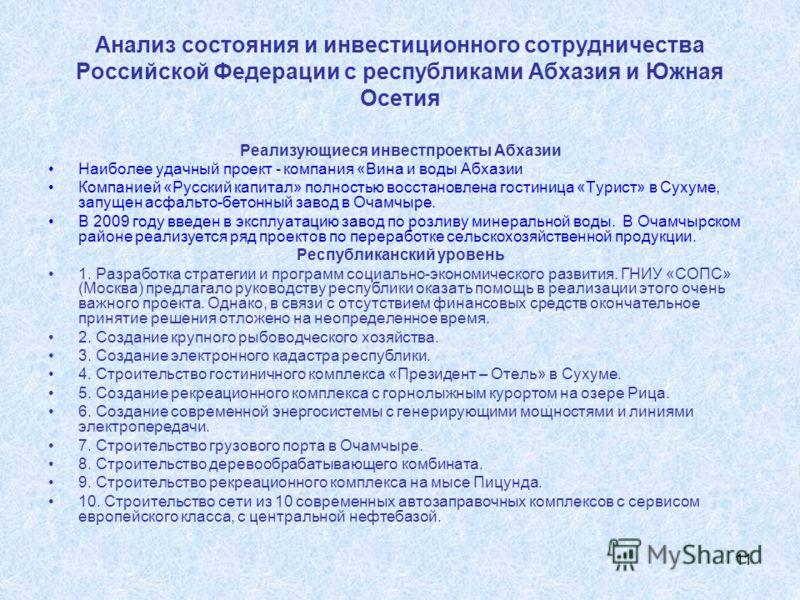 11 Анализ состояния и инвестиционного сотрудничества Российской Федерации с республиками Абхазия и Южная Осетия Реализующиеся инвестпроекты Абхазии Наиболее удачный проект - компания «Вина и воды Абхазии Компанией «Русский капитал» полностью восстано