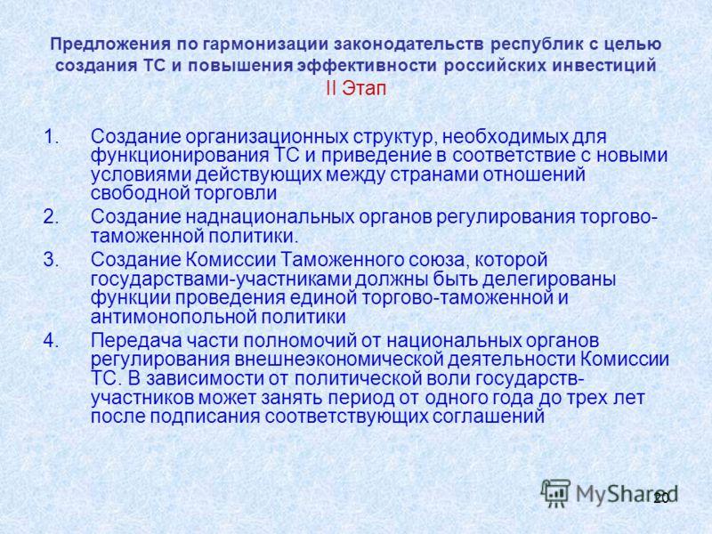 20 Предложения по гармонизации законодательств республик с целью создания ТС и повышения эффективности российских инвестиций II Этап 1.Создание организационных структур, необходимых для функционирования ТС и приведение в соответствие с новыми условия