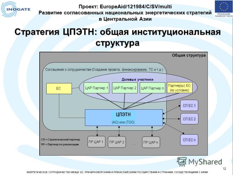 ЭНЕРГЕТИЧЕСКОЕ СОТРУДНИЧЕСТВО МЕЖДУ ЕС, ПРИЧЕРНОМОРСКИМИ И ПРИКАСПИЙСКИМИ ГОСУДАРСТВАМИ И СТРАНАМИ, СОСЕДСТВУЮЩИМИ С НИМИ 12 Development of Coordinated National Energy Policies in Central Asia Стратегия ЦПЭТН: общая институциональная структура Проект
