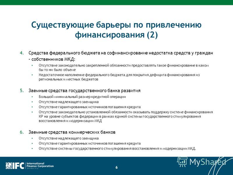Существующие барьеры по привлечению финансирования (2) 4.Средства федерального бюджета на софинансирование недостатка средств у граждан – собственников МКД: Отсутствие законодательно закрепленной обязанности предоставлять такое финансирование в каком