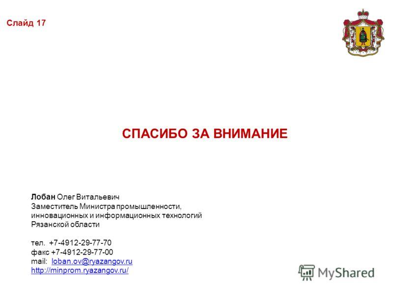 СПАСИБО ЗА ВНИМАНИЕ Лобан Олег Витальевич Заместитель Министра промышленности, инновационных и информационных технологий Рязанской области тел. +7-4912-29-77-70 факс +7-4912-29-77-00 mail: loban.ov@ryazangov.ruloban.ov@ryazangov.ru http://minprom.rya