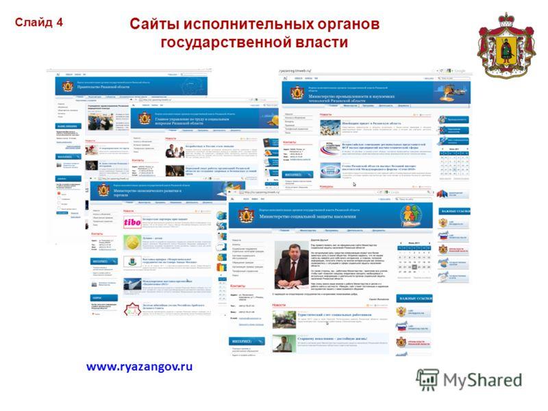 Сайты исполнительных органов государственной власти Cлайд 4 www.ryazangov.ru