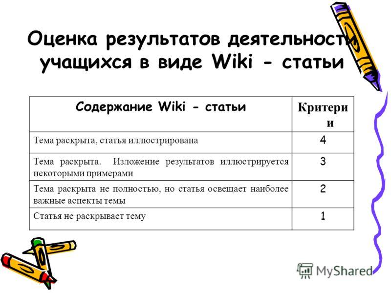Оценка результатов деятельности учащихся в виде Wiki - статьи Содержание Wiki - статьи Критери и Тема раскрыта, статья иллюстрирована 4 Тема раскрыта. Изложение результатов иллюстрируется некоторыми примерами 3 Тема раскрыта не полностью, но статья о