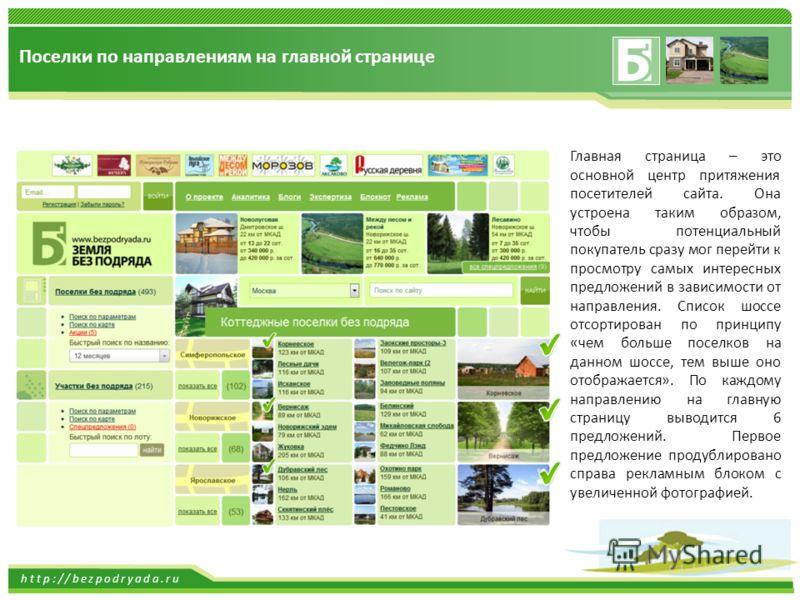 http://bezpodryada.ru Поселки по направлениям на главной странице Главная страница – это основной центр притяжения посетителей сайта. Она устроена таким образом, чтобы потенциальный покупатель сразу мог перейти к просмотру самых интересных предложени