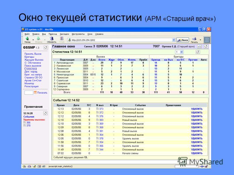 Окно текущей статистики (АРМ «Старший врач»)