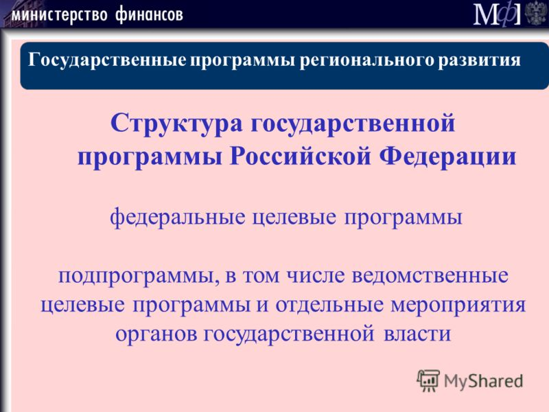 Государственные программы регионального развития Структура государственной программы Российской Федерации федеральные целевые программы подпрограммы, в том числе ведомственные целевые программы и отдельные мероприятия органов государственной власти