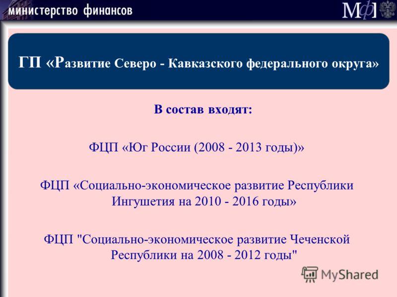 В состав входят: ФЦП «Юг России (2008 - 2013 годы)» ФЦП «Социально-экономическое развитие Республики Ингушетия на 2010 - 2016 годы» ФЦП