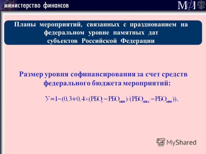 Размер уровня софинансирования за счет средств федерального бюджета мероприятий: Планы мероприятий, связанных с празднованием на федеральном уровне памятных дат субъектов Российской Федерации