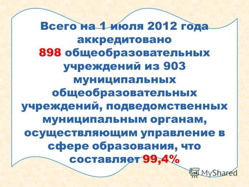 Всего на 1 июля 2012 года аккредитовано 898 общеобразовательных учреждений из 903 муниципальных общеобразовательных учреждений, подведомственных муниципальным органам, осуществляющим управление в сфере образования, что составляет 99,4%