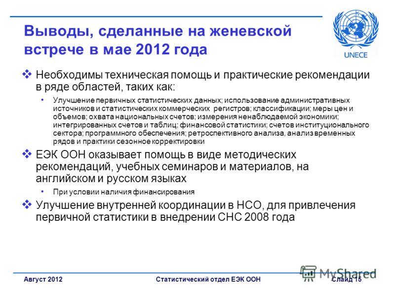 Статистический отдел ЕЭК ООН Слайд 15Август 2012 Выводы, сделанные на женевской встрече в мае 2012 года Необходимы техническая помощь и практические рекомендации в ряде областей, таких как: Улучшение первичных статистических данных; использование адм