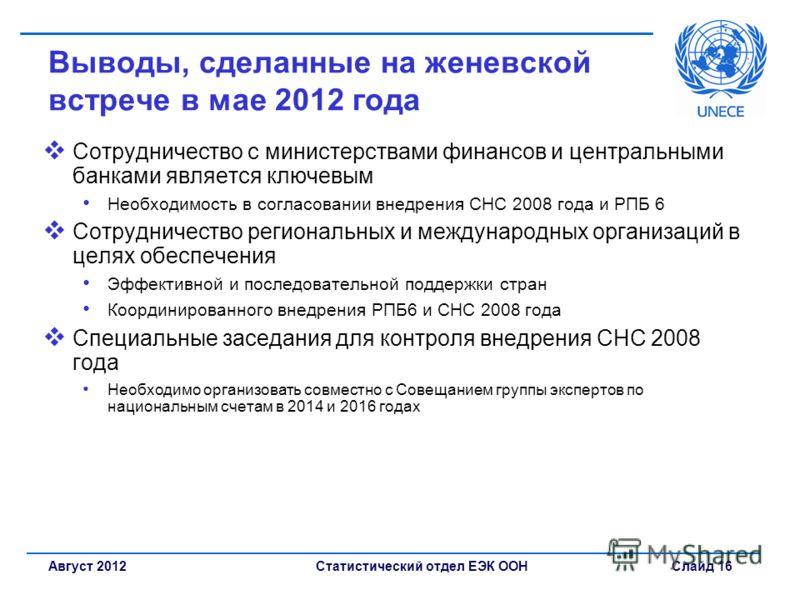 Статистический отдел ЕЭК ООН Слайд 16Август 2012 Выводы, сделанные на женевской встрече в мае 2012 года Сотрудничество с министерствами финансов и центральными банками является ключевым Необходимость в согласовании внедрения СНС 2008 года и РПБ 6 Сот