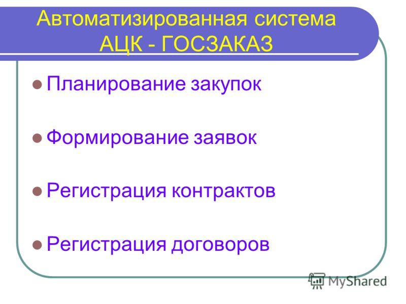 Автоматизированная система АЦК - ГОСЗАКАЗ Планирование закупок Формирование заявок Регистрация контрактов Регистрация договоров