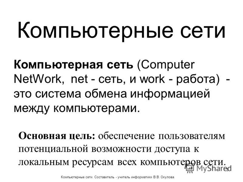 Компьютерные сети Компьютерная сеть (Computer NetWork, net - сеть, и work - работа) - это система обмена информацией между компьютерами. Основная цель: обеспечение пользователям потенциальной возможности доступа к локальным ресурсам всех компьютеров