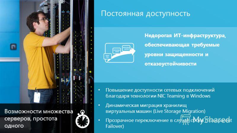 Постоянная доступность 11 Повышение доступности сетевых подключений благодаря технологии NIC Teaming в Windows Динамическая миграция хранилищ виртуальных машин (Live Storage Migration) Прозрачное переключение в случае сбоев (Transparent Failover) Нед
