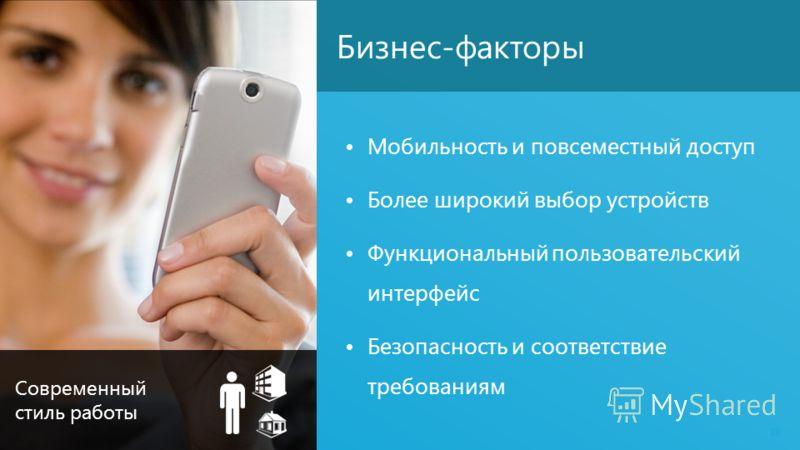 Бизнес-факторы Мобильность и повсеместный доступ Более широкий выбор устройств Функциональный пользовательский интерфейс Безопасность и соответствие требованиям 19 Современный стиль работы