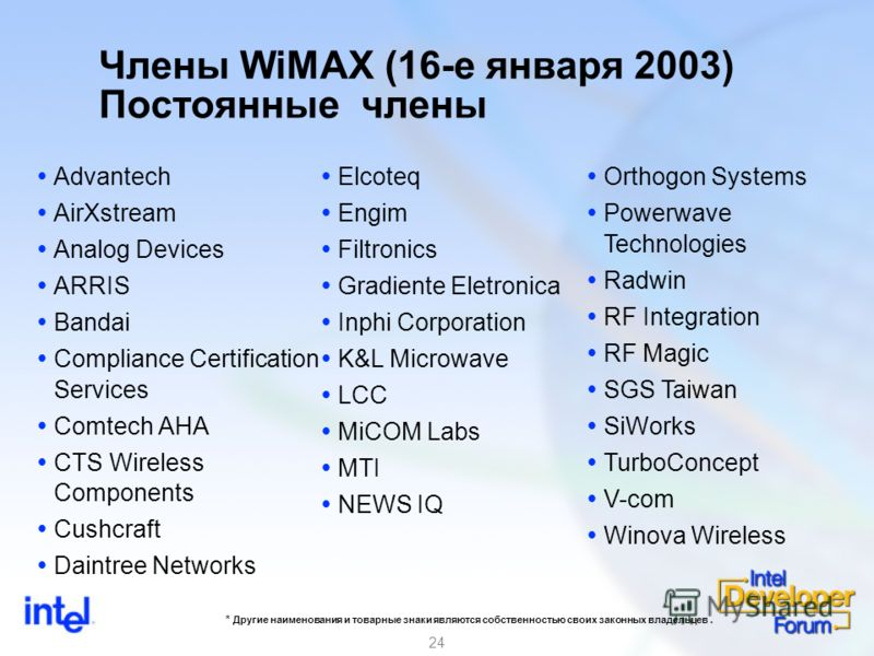 24 Члены WiMAX (16-е января 2003) Постоянные члены Advantech AirXstream Analog Devices ARRIS Bandai Compliance Certification Services Comtech AHA CTS Wireless Components Cushcraft Daintree Networks Elcoteq Engim Filtronics Gradiente Eletronica Inphi