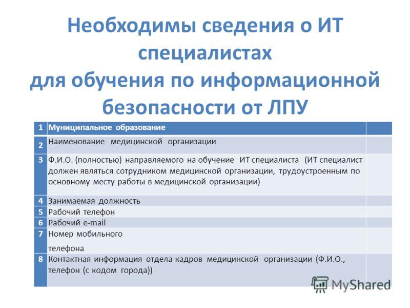 Необходимы сведения о ИТ специалистах для обучения по информационной безопасности от ЛПУ 1Муниципальное образование 2 Наименование медицинской организации 3Ф.И.О. (полностью) направляемого на обучение ИТ специалиста (ИТ специалист должен являться сот