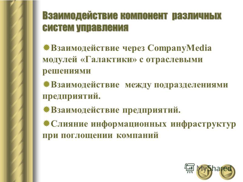 Взаимодействие компонент различных систем управления Взаимодействие через CompanyMedia модулей «Галактики» с отраслевыми решениями Взаимодействие между подразделениями предприятий. Взаимодействие предприятий. Слияние информационных инфраструктур при