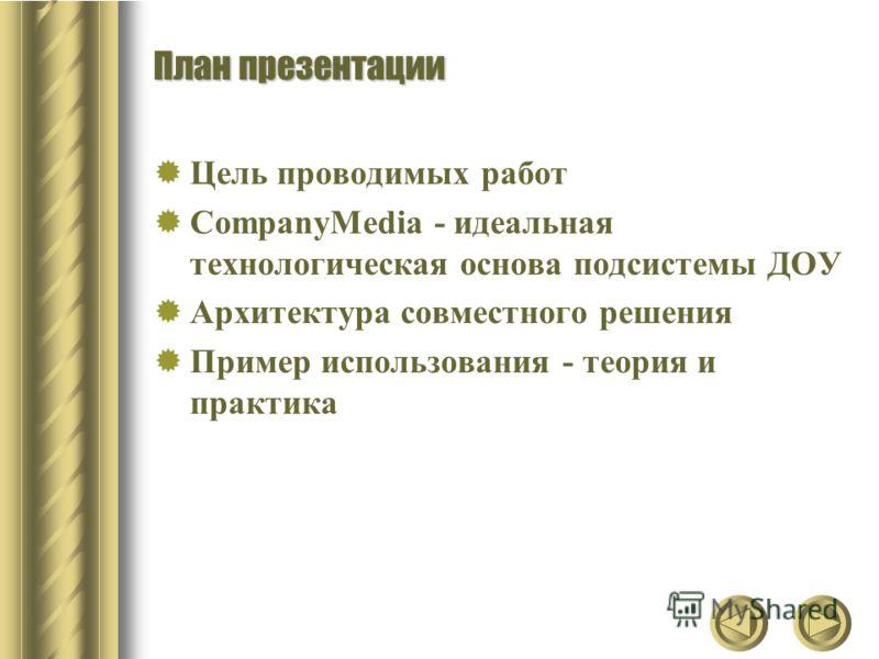 План презентации Цель проводимых работ CompanyMedia - идеальная технологическая основа подсистемы ДОУ Архитектура совместного решения Пример использования - теория и практика