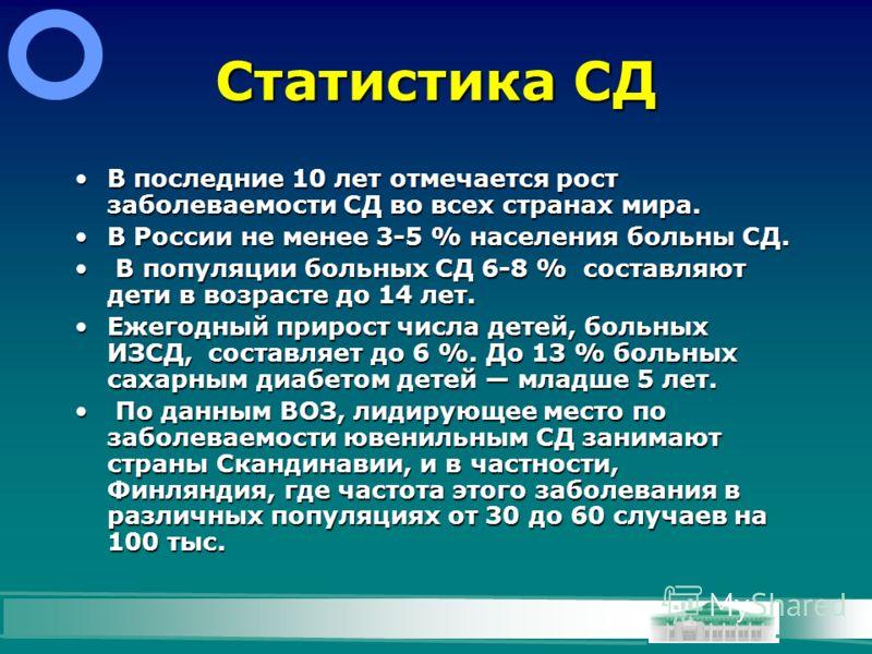 Статистика СД В последние 10 лет отмечается рост заболеваемости СД во всех странах мира.В последние 10 лет отмечается рост заболеваемости СД во всех странах мира. В России не менее 3-5 % населения больны СД.В России не менее 3-5 % населения больны СД