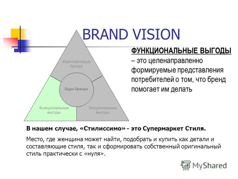 BRAND VISION Идентификация бренда Эмоциональные выгоды Ядро бренда ФУНКЦИОНАЛЬНЫЕ ВЫГОДЫ – это целенаправленно формируемые представления потребителей о том, что бренд помогает им делать В нашем случае, «Стилиссимо» - это Супермаркет Стиля. Место, где