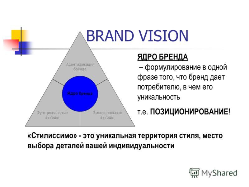 BRAND VISION Идентификация бренда Функциональные выгоды Эмоциональные выгоды Ядро бренда ЯДРО БРЕНДА – формулирование в одной фразе того, что бренд дает потребителю, в чем его уникальность т.е. ПОЗИЦИОНИРОВАНИЕ ! «Стилиссимо» - это уникальная террито