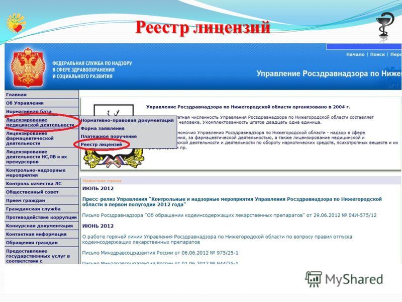 Реестр лицензий