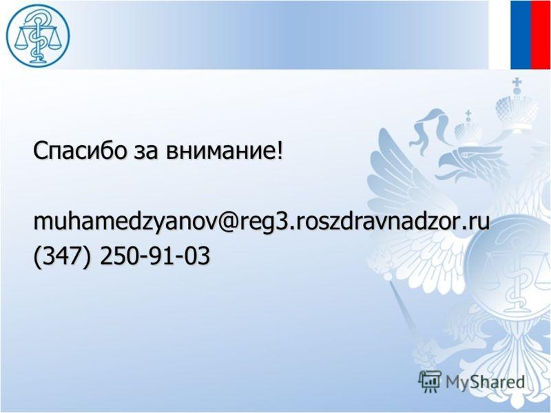 Спасибо за внимание! muhamedzyanov@reg3.roszdravnadzor.ru (347) 250-91-03
