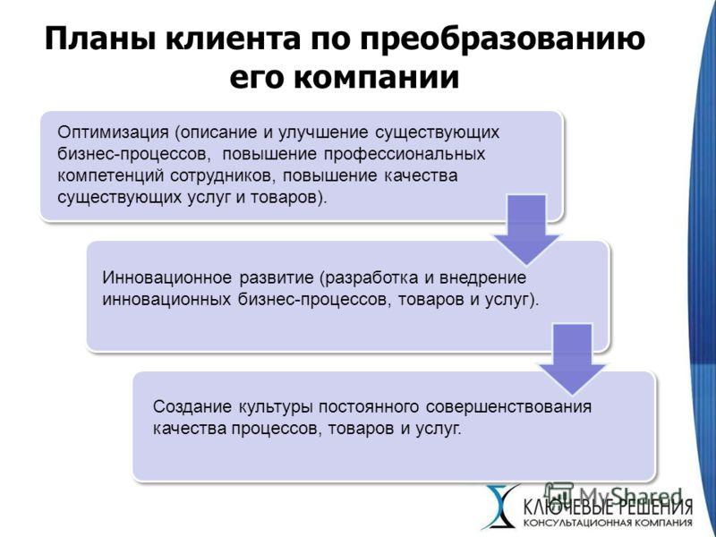 Планы клиента по преобразованию его компании Оптимизация (описание и улучшение существующих бизнес-процессов, повышение профессиональных компетенций сотрудников, повышение качества существующих услуг и товаров). Инновационное развитие (разработка и в