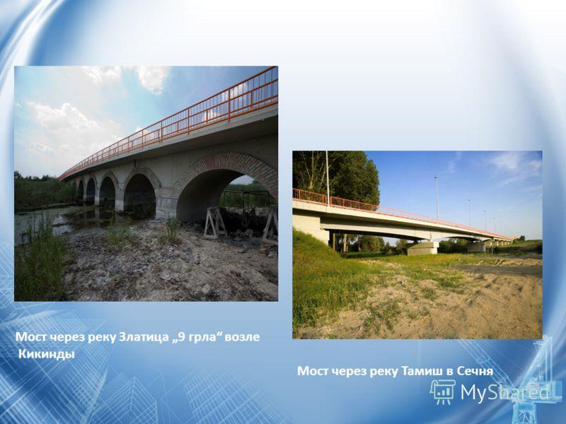 Мост через реку Златица 9 грла возле Кикинды Mост через реку Тамиш в Сечня