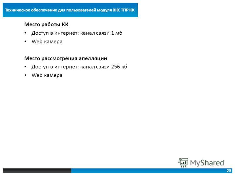 25 Техническое обеспечение для пользователей модуля ВКС ТПР КК Место работы КК Доступ в интернет: канал связи 1 мб Web камера Место рассмотрения апелляции Доступ в интернет: канал связи 256 кб Web камера