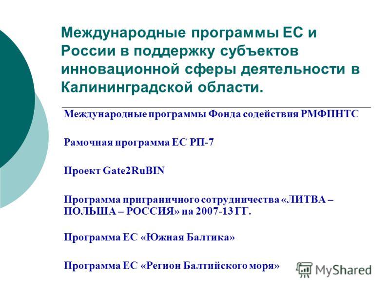 Международные программы ЕС и России в поддержку субъектов инновационной сферы деятельности в Калининградской области. Международные программы Фонда содействия РМФПНТС Рамочная программа ЕС РП-7 Проект Gate2RuBIN Программа приграничного сотрудничества