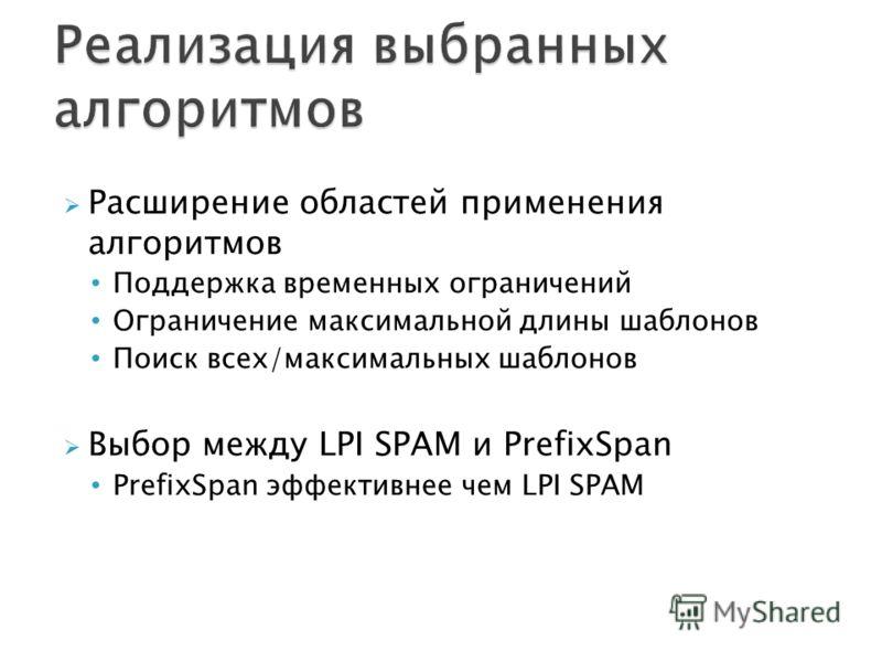 Расширение областей применения алгоритмов Поддержка временных ограничений Ограничение максимальной длины шаблонов Поиск всех/максимальных шаблонов Выбор между LPI SPAM и PrefixSpan PrefixSpan эффективнее чем LPI SPAM
